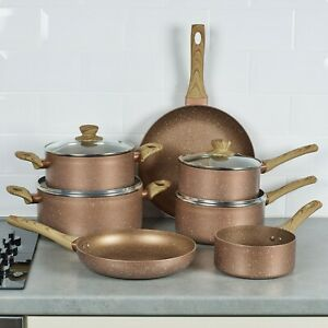 7 PCS URBN-CHEF Ceramic Rose Gold Induction Cooking Pots Frying Pan Cookware Set