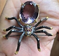 Huge 139 ct Natural Ametrine Sapphire, Rhodolite Garnet Spider Silver brooch pin