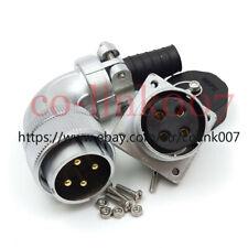 WS32 4pin Power Connector,50A Aviation Bulkhead Plug Socket Earth Wire 90° Plug