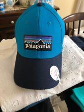 PATAGONIA Mens Blue Black Mountain Logo Stretch Fit Organic Cotton Hat Sz Sm / M