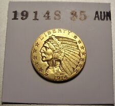 1914-S $5.00 INDIAN GOLD COIN - NICE HIGHER GRADE LIGHTLY CIRCULATED COIN -