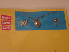 Necklace with 3 Charms Hope Love Luck. New