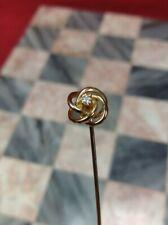 Antique 14K Yellow Gold & Diamond Flower Hatpin Stick Pin