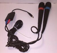 Singstar 2 Microphones & USB Converter Dongle for PlayStation 2 & 3 Tested Work