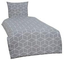 4 tlg Bettwäsche 135 x 200 cm Geometrisch Cube weiß grau Baumwolle Renforce Set