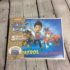 Paw Patrol 5 Wood Puzzles in Wooden Storage Box NIP