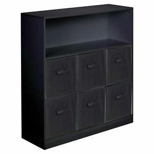 Wooden Black Wide 7 Cubed Cupboard Storage Unit Shelves 6 Black Drawers Baskets