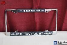 1969 Chevy Chevrolet GM Licensed Front Rear Chrome License Plate Holder Frame