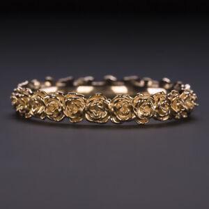 14 ROSE GOLD FLOWER RING ETERNITY WEDDING BAND FLORAL BOTANICAL STACKING BLOSSOM