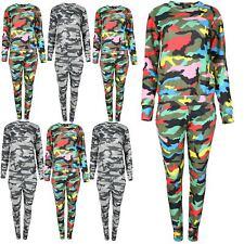 Ladies Womens Multi Colour Army Turtle Neck Top Loungewear Set Tracksuit Uk 8-14