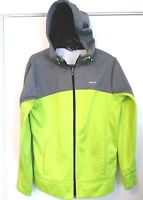 MEN'S SIZE SMALL HIND LIME GREEN & GRAY FULL ZIP SOFT SHELL MICROFLEECE JACKET