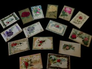 Lot of 15~ Vintage  Greetings Postcards with SILK Flowers-h577