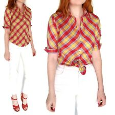 Handmade Mid Century Vtg Blouse Plaid Red Button Down Shirt 70's Top S Retro USA