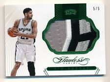 2014-15 Flawless * TIM DUNCAN * Jumbo Game Used Patch * EMERALD * #5/5