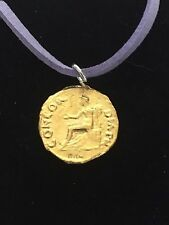 """Aureus Of Vitellius Coin WC67 Gold English Pewter On a 18"""" Purple Cord Necklace"""