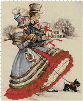Victorian Christmas Shopping Cross-Stitch DIGITAL Pattern Needlepoint Chart