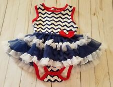 Baby Gear One Piece w/Tutu Skirt Red, White, Blue Baby Girl's Sz 6 Months Usa