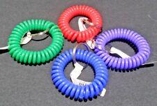 Bracelet Wrist Spiral Coil w/ Split Key Ring Assorted Colors Set of 4 NEW