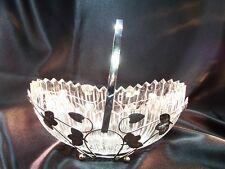 Vintage EAPG Glass & Silverplate Brides Basket Bryce Bros. Sawtooth Rim Bowl