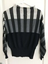 Tomas Maier $590 Italian Striped Sweater Black Gray Navy Sweater SZ 2 Worn Once