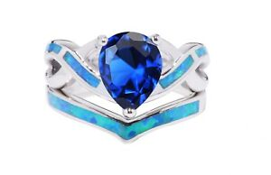 White Gold Finish Pear Drop Blue Sapphire Opal Silver Ring Set