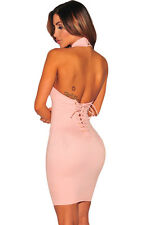 New ladies pink lace up back bodycon mini dress club party wear size 10-12