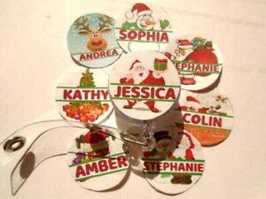 Christmas Santa Snowman Rudolph Fun ID Badge Reel Card Holder PERSONALISED NAME