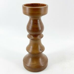 VTG Ceramic Pillar Pedestal Candle Holder Mid Century Modern Turned Wood Look