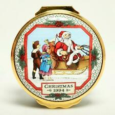 "Halcyon Days 1994 Christmas ""Santa In Sleigh"" Enamel Trinket Box, W/Coa"