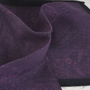 NWOT Made in Italy 100% Wool Grape Flannel Paisley Midnight Piped Pocket Square