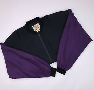 Vintage Silk Bomber Womens Medium Black Jacket Full Zip Size Sz M Protest Purple