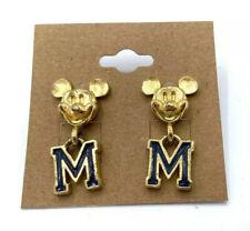 "Vintage Mickey Mouse ""M"" Gold Tone Dangle Earrings Disney"
