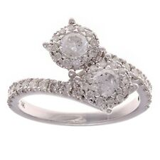 14k White Gold 1ctw Diamond Double Halo Basket Cluster Bypass Engagement Ring