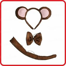 MONKEY HEADBAND HAIRBAND WITH EARS+BOW TIE+TAIL- 3PC DRESS UP SET -COSTUME -2