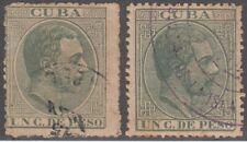 1884-212 Spain Antilles. 1884. 1c Verde. Ed.61+95. Original+Tercer Regrabado.