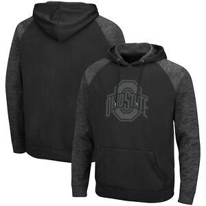 Ohio State Buckeyes Colosseum Blackout 3.0 Tonal Raglan Pullover Hoodie - Black