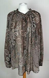 NEW H&M Floral Sheer Loose Brown Shirt Blouse XL
