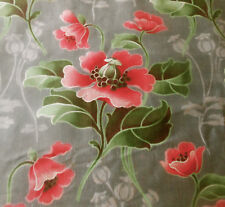 Antique French Nouveau Poppy Floral Cotton Fabric ~ Coral Pink Red Gray Green