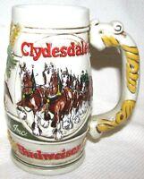 Vintage Budweiser Clydesdales Beer Stein Mug Snowy Woodlands Ceramarte Brazil