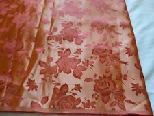 "Polyester drapery fabric-burnt orange roses on lighter orange-shine-2 yd 27""x58"""