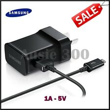 New Genuine 1A Samsung Galaxy S2 S3 AC Wall Charger Adapter+USB Cable (BLACK)