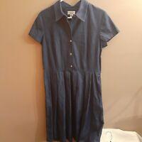 Women's Womens Talbots Chambray Denim Pleated Midi Dress Size 16
