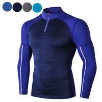 Mens Compression Shirt Long Sleeve Base Layer Running Jogging Yoga Training Top