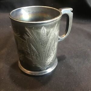 Antique Victorian Baby Cup Webster Silver Plate Bright Cut Wheat Decoration