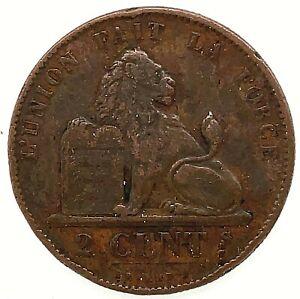 1871 BELGIUM - 2 CENTIMES - Leopold Premier - Bronze Coin KM #35.1