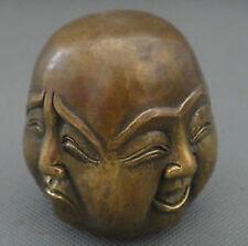 Antique excellent old bronze sculpté statue 4 visage humeur bouddha 6cm