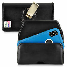 Holster fits iPhone XS MAX with OTTERBOX DEFENDER Black Leather Holster Clip