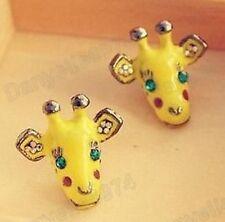 CUTE crystal BABY GIRAFFE EARRINGS yellow enamel KITSCH aqua rhinestone eyes