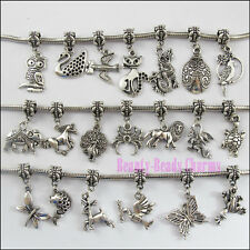 20Pcs Mixed Tibetan Silver Tone Animal Dangle Charms Beads fit European Bracelet