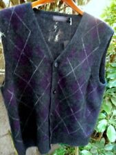 MerinoMink~NewZealand Charcoal Argyle~Possum Fur+Merino~size L~Vest Cardigan~Nwt